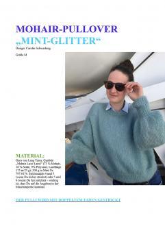 """Knitting Instruction Mohair-Pullover """"Mint-Glitter"""""""