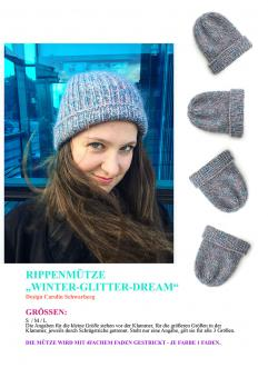 "Knitting Instruction Cap ""Winter Glitter Dream"""