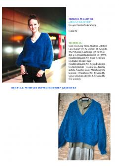 """Knitting Instruction Mohair-Pullover """"Ocean-Glitter"""""""