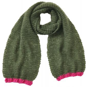 Mohairschal in Oliv-Pink