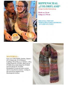 "Knitting Instruction Ribbed Scarf ""Colorflash"""
